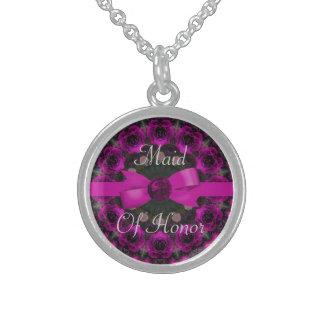 Pinkfarbene rosa Rosenmandala-Hochzeit Sterling Silberkette