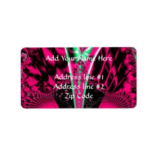 Pinkfarbenes alien-Karneval-Masken-Fraktal Adressaufkleber