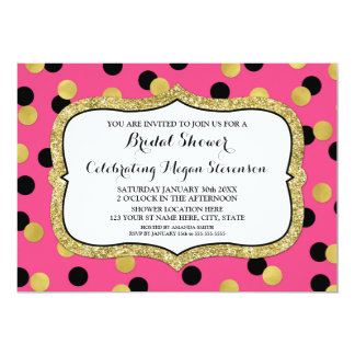 Pinkfarbenes schwarzes Goldconfetti-Brautparty 12,7 X 17,8 Cm Einladungskarte