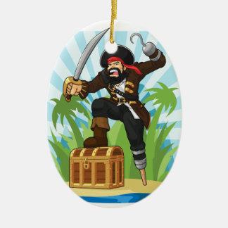 Pirat mit seiner Schatztruhe Ovales Keramik Ornament