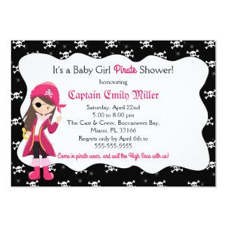 Piraten-Baby-Mädchen-Duschen-Party Einladung