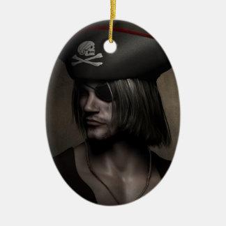 Piraten-Kapitän Portrait Ovales Keramik Ornament