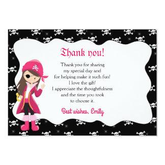 Piraten-Mädchen danken Ihnen zu kardieren Karte