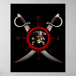 Piraten-Schädel-Kompass-Rose Poster