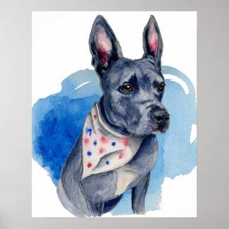 Pitbull-Hundeblaue Aquarell-Malerei Poster