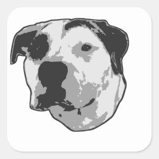 Pitbull-Knochen-Grafik Quadratischer Aufkleber