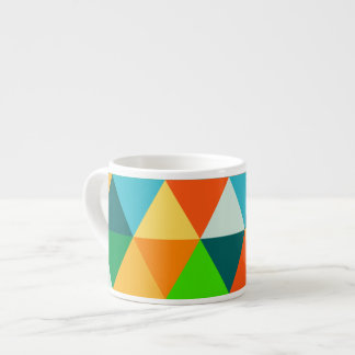 PixDezines geometrisches Waldgrün/orange/aquamarin Espresso-Tasse