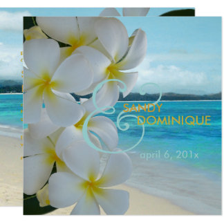 PixDezines PLUMERIA LEI/BEACH/TROPICAL/DIYfonts Quadratische 13,3 Cm Einladungskarte
