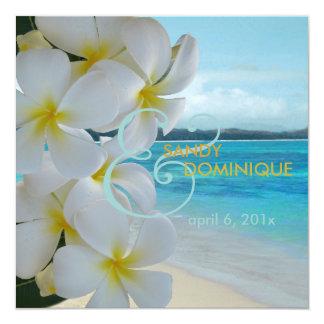PixDezines Plumeria-Leu /Beach/Tropical/Wedding Quadratische 13,3 Cm Einladungskarte