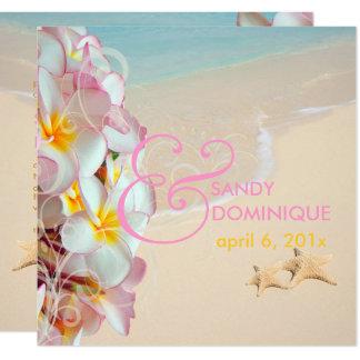 PixDezines rosa Plumeria+Strand/Wirbel/tropisches Karte