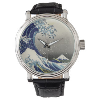 PixDezines Vintag, große Welle, Hokusai 葛飾北斎の神奈川沖浪 Uhr