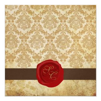 PixDezines Vintag+Pikee-Damast+Wachs-Siegel Quadratische 13,3 Cm Einladungskarte