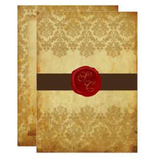 PixDezines Vintag+Pikee-Spitze-Damast+Wachs-Siegel 12,7 X 17,8 Cm Einladungskarte