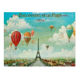 PixDezines Vintage Ballone über Paris Postkarte