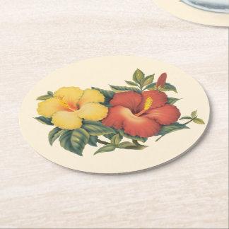PixDezines Vintages Hawaiianer Hibiscus/DIY Runder Pappuntersetzer