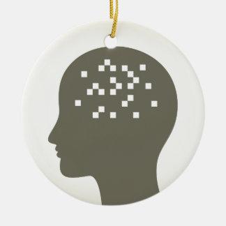 Pixel in einem Kopf Keramik Ornament