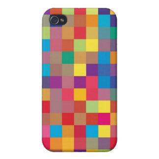 Pixel-Regenbogen-Quadrat-Muster iPhone 4 Case