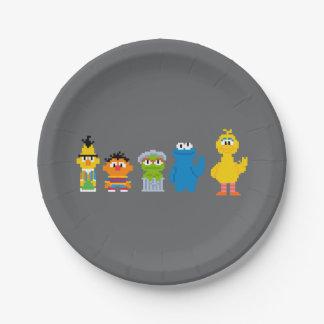 Pixel-Sesame Street-Charaktere Pappteller 17,8 Cm