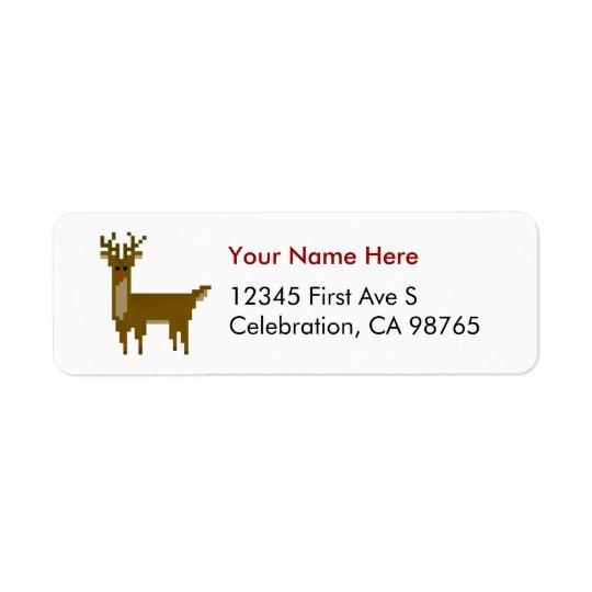 Pixelgamer-Weihnachtsrudolph-Ren-Aufkleber Kleiner Adressaufkleber
