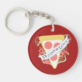 Pizza ist Liebe Beidseitiger Runder Acryl Schlüsselanhänger