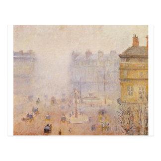 Place du Theatre Francais, nebeliges Wetter durch Postkarte