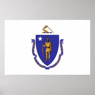 Plakat mit Flagge von Massachusetts, USA