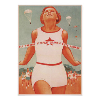 Plakat mit Vintager die Sowjetunions-Propaganda