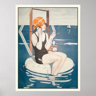 Plakat mit Vintager französischer Sommer-Illustrat