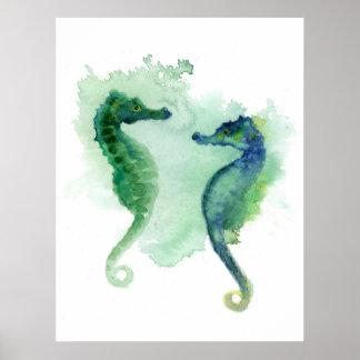 Plakat-Seepferd der Seepferde des blauen Grüns Poster