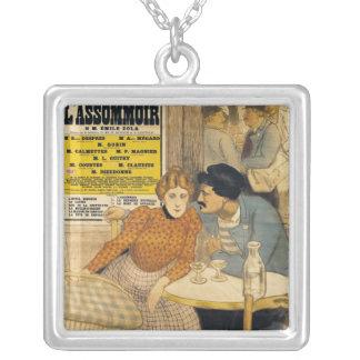 Plakatwerbung L'Assommoir durch M.M.W. Halskette Mit Quadratischem Anhänger