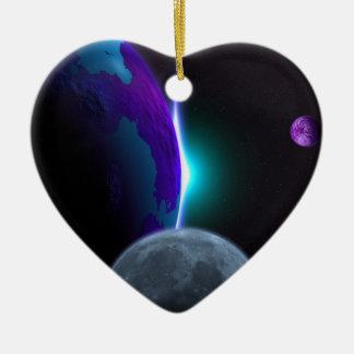 Planeten Keramik Herz-Ornament