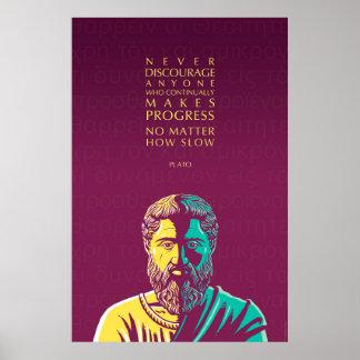 Plato-Zitat: Fortschritt Poster