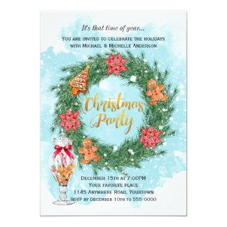 Plätzchen und Poinsettiawreath-WeihnachtsParty Karte