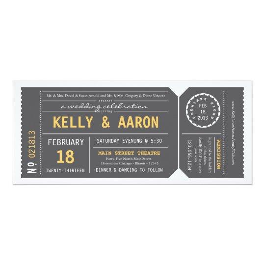 Playbill Theater-Karten-Hochzeits-Einladung - Grau Karte