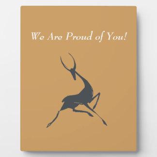 Playfully elegante Hand gezeichnete graue Gazelle Fotoplatte