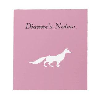Playfully elegante Hand gezeichneter weißer Fox Notizblock