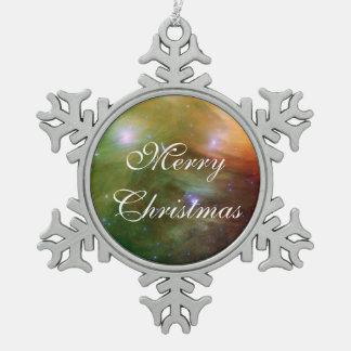 Pleiades Sterne im Infrarotlicht Schneeflocken Zinn-Ornament