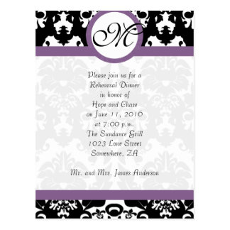 Plum Trim Black Damask Hearts Rehearsal Dinner Postkarten