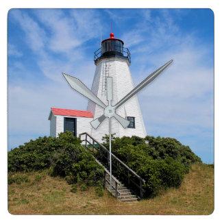 """Plymouth-Leuchtturm, """"der Gurnet"""" Massachusetts Quadratische Wanduhr"""