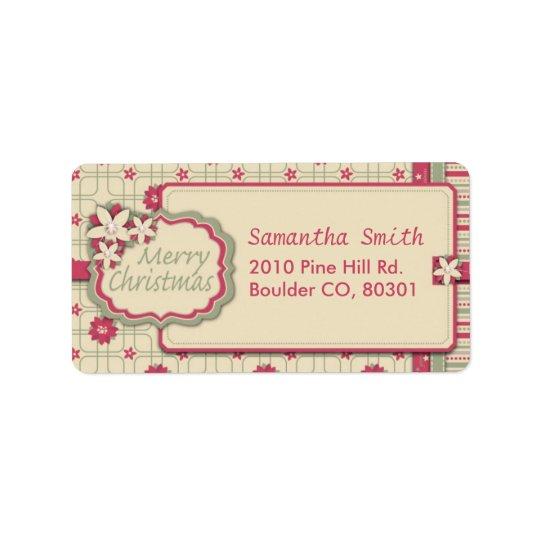 Poinsettia-Adressen-Etikett Adressaufkleber