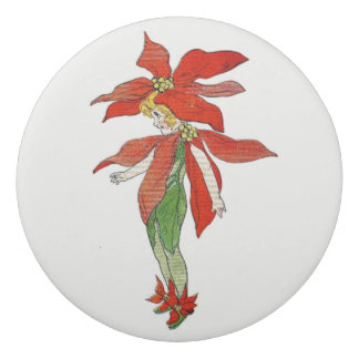 Poinsettia-Vintages niedliches Blumen-Mädchen mit Radiergummis 0