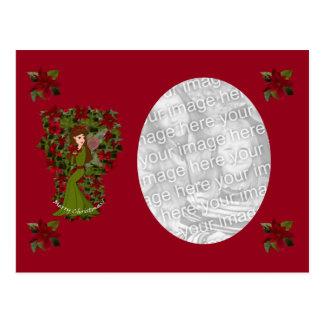 Poinsettia-Weihnachtsfeenhafte Foto-Postkarte Postkarte