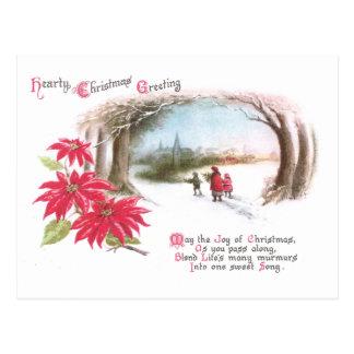 Poinsettias und Bogen des Baum-Vintagen Postkarte