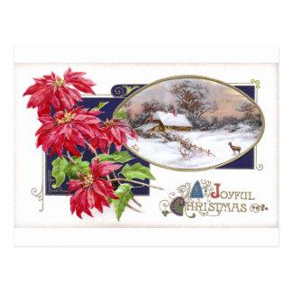 Poinsettias und Snowy-Vignetten-Vintages Postkarte