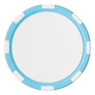Poker-Chips mit Baby-Blau-gestreiftem Rand Poker Chip Set