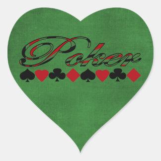 Poker Herz-Aufkleber
