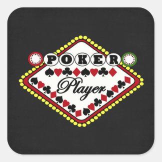 Poker-Spieler Quadratischer Aufkleber
