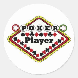 Poker-Spieler Runder Aufkleber