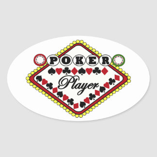 Poker-Spieler Ovaler Aufkleber