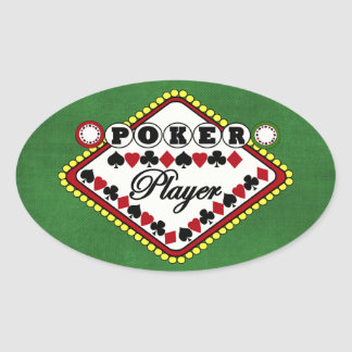 Poker-Spieler Ovale Aufkleber